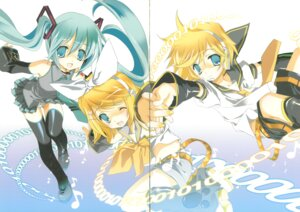 Rating: Questionable Score: 9 Tags: hatsune_miku kagamine_len kagamine_rin kyougetsutei miyashita_miki paper_texture vocaloid User: crim
