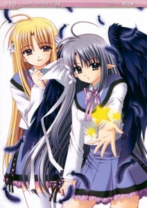 Rating: Safe Score: 10 Tags: freyjalt_fall judgement_chime nishimata_aoi seifuku varuna_riel wings User: Kalafina