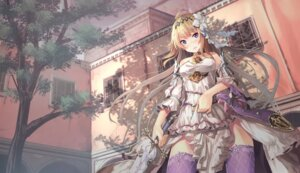 Rating: Safe Score: 61 Tags: dress granblue_fantasy jeanne_d'arc_(granblue_fantasy) saraki skirt_lift sword thighhighs User: Mr_GT