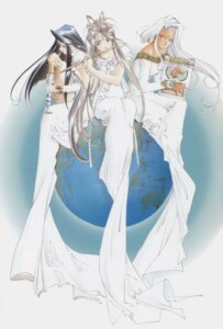Rating: Safe Score: 8 Tags: ah_my_goddess belldandy dress fujishima_kousuke screening skuld urd User: minakomel