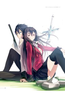 Rating: Safe Score: 38 Tags: kasuga_ayumu_(artist) seifuku sword thighhighs weapon User: akagiss