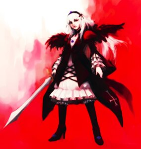 Rating: Safe Score: 12 Tags: hironox rozen_maiden suigintou sword wings User: charunetra