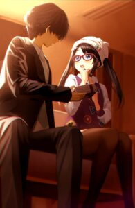 Rating: Safe Score: 13 Tags: megane mitsumine_yuika producer tera2001 the_idolm@ster the_idolm@ster_shiny_colors thighhighs User: harukishima