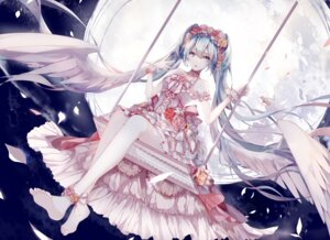 Rating: Safe Score: 63 Tags: amatsukiryoyu dress hatsune_miku vocaloid wings User: KazukiNanako