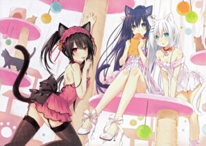 Rating: Questionable Score: 231 Tags: animal_ears cleavage date_a_live dress fishnets heels heterochromia neko nekomimi no_bra nopan stockings tail thighhighs tobiichi_origami tokisaki_kurumi tsunako yatogami_tooka User: WhiteExecutor