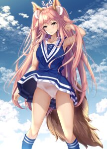 Rating: Questionable Score: 42 Tags: animal_ears cheerleader fate/extra fate/stay_night fukuda_shuushi pantsu skirt_lift tail tamamo_no_mae User: Mr_GT