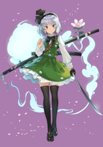 Rating: Safe Score: 36 Tags: konpaku_youmu matsukichiii sword thighhighs touhou User: Mr_GT