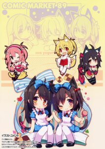 Rating: Safe Score: 29 Tags: animal_ears chibi chiri_(atlanta) chiriko cleavage dress meina miko nekomimi tail ten'inkou_korin thighhighs User: donicila