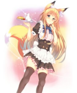 Rating: Safe Score: 32 Tags: animal_ears kitsune maid tagme tail thighhighs User: Hirokitsune