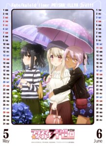 Rating: Safe Score: 27 Tags: calendar dress fate/kaleid_liner_prisma_illya fate/stay_night illyasviel_von_einzbern kuroe_von_einzbern miyu_edelfelt umbrella User: drop