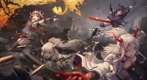 Rating: Safe Score: 21 Tags: animal_ears arknights ch'en_(arknights) exusiai_(arknights) eyjafjalla_(arknights) heels horns jay_xu lappland_(arknights) nian_(arknights) pointy_ears shining_(arknights) skirt_lift stockings sword texas_(arknights) thighhighs weapon User: Mr_GT