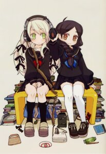 Rating: Safe Score: 20 Tags: headphones mota seifuku thighhighs User: Wraith