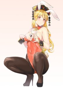 Rating: Questionable Score: 100 Tags: ameyame animal_ears bunny_ears bunny_girl cleavage heels junko no_bra pantyhose tail touhou User: Mr_GT