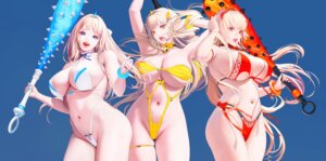 Rating: Questionable Score: 10 Tags: bikini erect_nipples garter horns hyulla swimsuits weapon User: Mr_GT