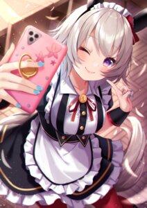 Rating: Questionable Score: 16 Tags: amahara_pekozaemon animal_ears curren_chan_(umamusume) maid selfie tail uma_musume_pretty_derby User: Mr_GT