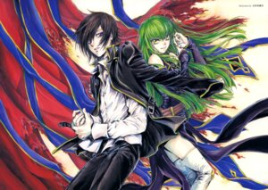 Rating: Safe Score: 10 Tags: c.c. code_geass lelouch_lamperouge thighhighs yuki_kaori User: drop