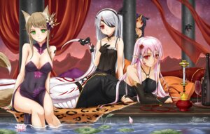 Rating: Safe Score: 80 Tags: animal_ears cleavage dress eyepatch garter midnight monster_girl no_bra pixiv_fantasia pixiv_fantasia_t pointy_ears tail wet User: Mr_GT