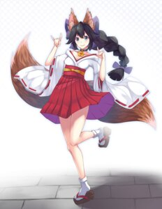 Rating: Safe Score: 30 Tags: animal_ears kitsune mhong miko open_shirt tail User: Mr_GT