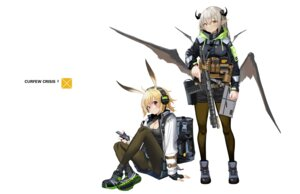 Rating: Questionable Score: 15 Tags: cameltoe cleavage gun hamachi_hazuki headphones horns pantsu pantyhose pointy_ears skirt_lift wings User: Dreista