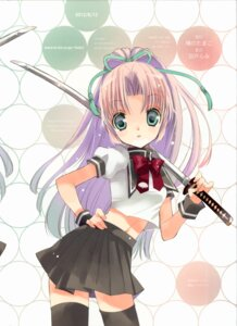 Rating: Safe Score: 21 Tags: hato_no_tamago rami seifuku sword thighhighs User: yong