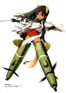 Rating: Safe Score: 15 Tags: mecha_musume pantsu shimada_humikane sword tan_lines User: silentwolf