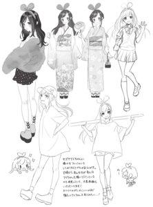 Rating: Safe Score: 7 Tags: a.i._channel chibi kimono kizuna_ai monochrome morikura_en seifuku sketch sweater yukata User: Nepcoheart