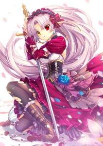 Rating: Questionable Score: 49 Tags: capura.l elf heels heterochromia pointy_ears sword torn_clothes User: fairyren