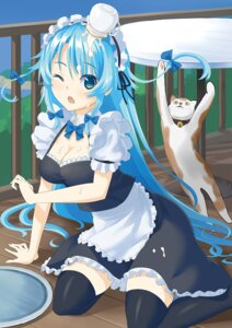 Rating: Safe Score: 22 Tags: cleavage cream kuro_oolong maid neko thighhighs User: KazukiNanako