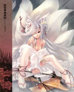 Rating: Questionable Score: 62 Tags: animal_ears cleavage kimono kitsune miwa_yoshikazu no_bra tail thighhighs weapon User: fireattack