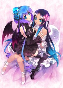 Rating: Safe Score: 62 Tags: angel aoki_lapis carnelian devil dress gothic_lolita heels jpeg_artifacts lolita_fashion merli see_through stockings thighhighs vocaloid wings User: Mr_GT