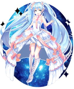 Rating: Safe Score: 39 Tags: dress garter hatsune_miku heels kanoa vocaloid User: KazukiNanako