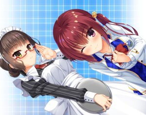 Rating: Safe Score: 14 Tags: log_(8kumagawa) maid megane minamoto_chisaki noble_works sanjou_makoto seifuku User: john.doe