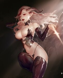 Rating: Questionable Score: 97 Tags: cleavage horns instant-ip no_bra pointy_ears thighhighs thong wings User: Mr_GT