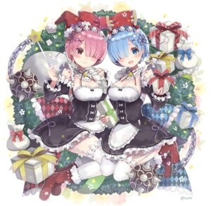 Rating: Safe Score: 61 Tags: christmas cleavage kyou_hotaru maid ram_(re_zero) re_zero_kara_hajimeru_isekai_seikatsu rem_(re_zero) stockings thighhighs weapon User: Mr_GT