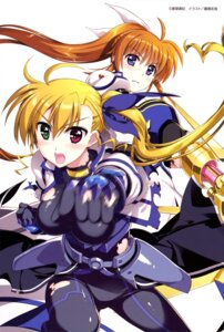 Rating: Questionable Score: 22 Tags: armor bodysuit fujima_takuya heterochromia mahou_shoujo_lyrical_nanoha mahou_shoujo_lyrical_nanoha_vivid takamachi_nanoha torn_clothes vivio weapon User: drop