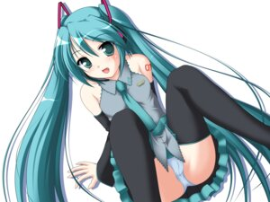 Rating: Questionable Score: 40 Tags: cameltoe hatsune_miku kakesu pantsu stockings thighhighs vocaloid wallpaper User: Drich007