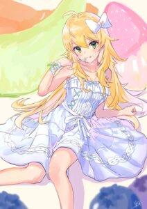 Rating: Safe Score: 21 Tags: cleavage cream dress hoshii_miki skirt_lift summer_dress the_idolm@ster tsubameno User: yanis