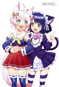 Rating: Safe Score: 28 Tags: animal_ears cyan_(show_by_rock!!) howan nekomimi show_by_rock!! tail thighhighs torii_kiyomi yuri User: drop