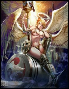 Rating: Questionable Score: 9 Tags: angel armor bikini_armor cleavage heels ken_(artist) signed underboob weapon wings User: mash