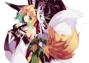 Rating: Safe Score: 73 Tags: animal_ears japanese_clothes kitsune shirokitsune tail umbrella User: yong