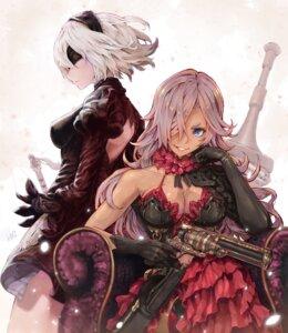 Rating: Safe Score: 38 Tags: cinderella_(sinoalice) cleavage crossover gun hoshizaki_reita nier_automata sinoalice sword yorha_no.2_type_b User: Mr_GT