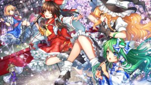 Rating: Safe Score: 16 Tags: alice_margatroid hakurei_reimu heels kirisame_marisa kochiya_sanae kuzuhamire moriya_suwako thighhighs touhou wallpaper witch User: Mr_GT