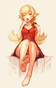 Rating: Questionable Score: 42 Tags: cleavage doomfest dress feet monogatari_(series) oshino_shinobu pantsu pointy_ears User: blooregardo