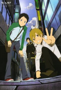 Rating: Safe Score: 9 Tags: crease durarara!! kida_masaomi male orihara_izaya ryuugamine_mikado scanning_dust screening tanaka_orie User: Splaash.-