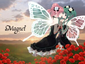 Rating: Safe Score: 20 Tags: dress hatsune_miku keiko magnet_(vocaloid) megurine_luka symmetrical_docking vocaloid wallpaper wings yuri User: fairyren
