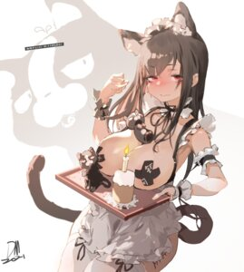 Rating: Questionable Score: 19 Tags: animal_ears areola breasts dm_(dai_miao) maid nekomimi no_bra pasties tail thighhighs User: Munchau