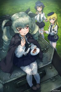 Rating: Safe Score: 25 Tags: anchovy autographed carpaccio girls_und_panzer pantyhose pepperoni seifuku solokov User: Mr_GT