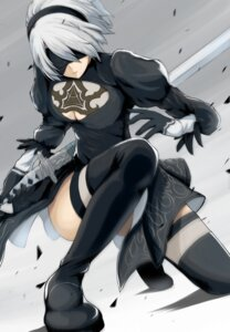 Rating: Safe Score: 33 Tags: cleavage dress kou_(mashtakaba) nier_automata sword thighhighs yorha_no.2_type_b User: mash