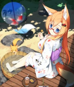 Rating: Safe Score: 59 Tags: animal_ears kitsune matatabi_haru megane tail yukata User: 椎名深夏