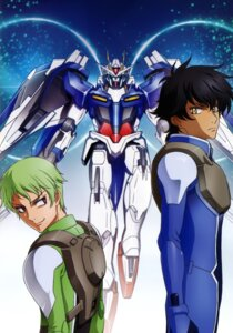 Rating: Safe Score: 5 Tags: 00_raiser bodysuit gundam gundam_00 male mecha ribbons_almark setsuna_f_seiei User: Radioactive